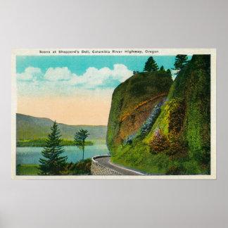 Escena en Dell de Shepperd en el río Columbia Poster