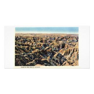 Escena en el nuevo camino al interior, Badlands Plantilla Para Tarjeta De Foto