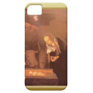 Escena estable, Maria y el bebé en el pesebre iPhone 5 Funda