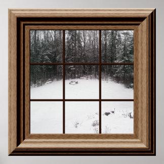 Escena falsa de la nieve del invierno del poster