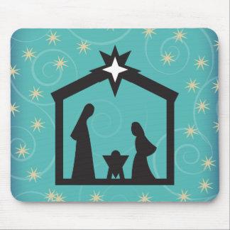 Escena festiva de la natividad del navidad del alfombrilla de ratones