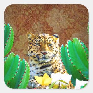 Escena floral del cactus hermoso del tigre pegatina cuadrada