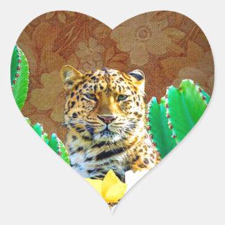 Escena floral del cactus hermoso del tigre pegatina en forma de corazón