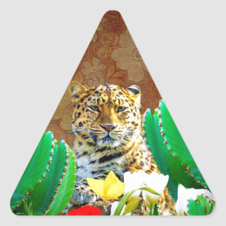 Escena floral del cactus hermoso del tigre pegatina triangular