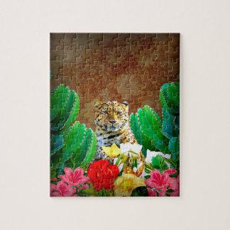 Escena floral del cactus hermoso del tigre puzzle con fotos