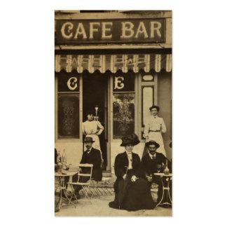 Escena francesa de la barra del café del vintage tarjetas de visita