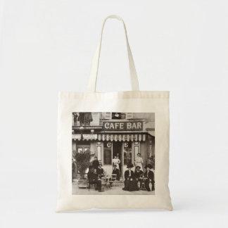 Escena francesa de la calle de la barra del café bolsa tela barata