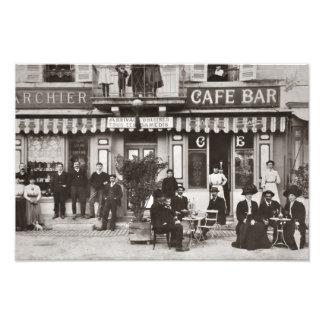 Escena francesa de la calle de la barra del café fotografia