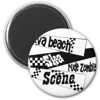 Escena grosera del ska del zombi imán redondo 5 cm
