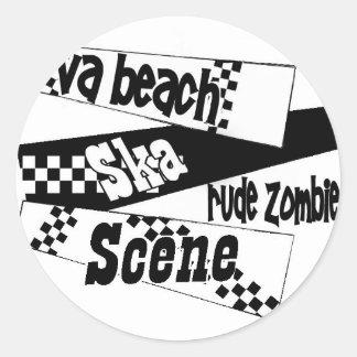 Escena grosera del ska del zombi pegatina redonda