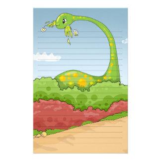 escena hambrienta hambrienta del brontosaurus papelería de diseño