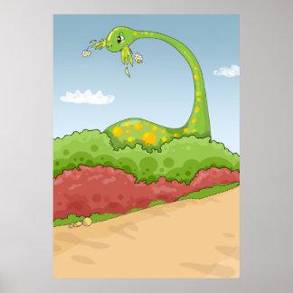 escena hambrienta hambrienta del brontosaurus póster