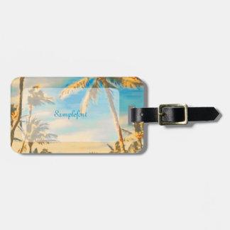 Escena hawaiana/azul de la playa del vintage de etiqueta de equipaje