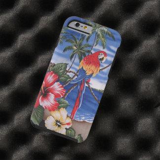 Escena hawaiana de la playa de los Macaws Funda De iPhone 6 Tough