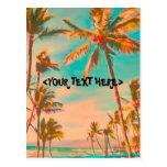 Escena hawaiana de la playa del vintage de PixDezi Postal
