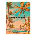 Escena hawaiana de la playa del vintage de tarjetas postales