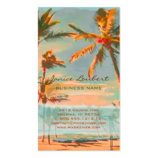 Escena hawaiana de la playa del vintage de tarjetas de visita