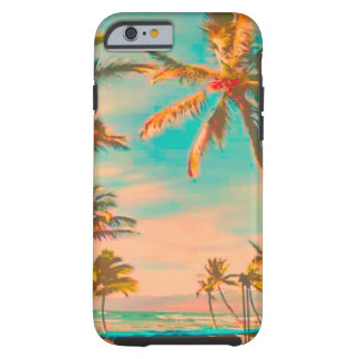 Escena hawaiana/trullo de la playa del vintage de funda de iPhone 6 tough