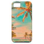 Escena hawaiana/trullo de la playa del vintage de  iPhone 5 Case-Mate protector