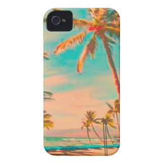 Escena hawaiana trullo de la playa del vintage de