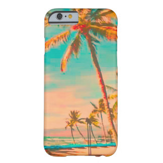 Escena hawaiana/trullo de la playa del vintage de funda de iPhone 6 barely there