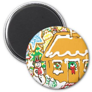 Escena helada del navidad de las galletas de la ca imán redondo 5 cm