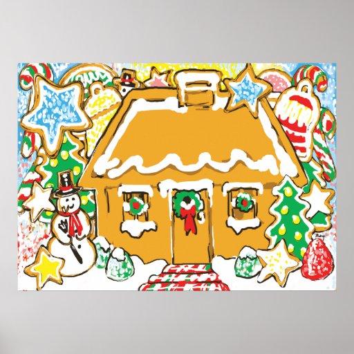 Escena helada del navidad de las galletas de la ca impresiones