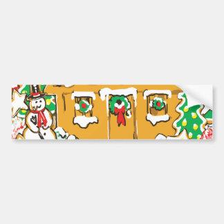 Escena helada del navidad de las galletas de la ca pegatina para auto