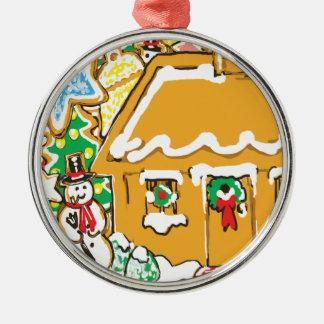 Escena helada del navidad de las galletas de la adorno redondo plateado