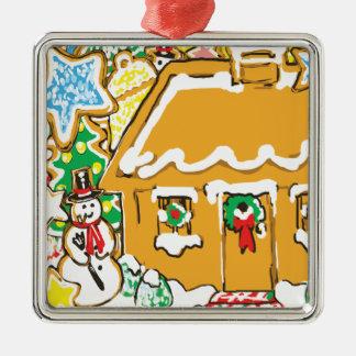 Escena helada del navidad de las galletas de la adorno cuadrado plateado