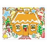 Escena helada del navidad de las galletas de la postal