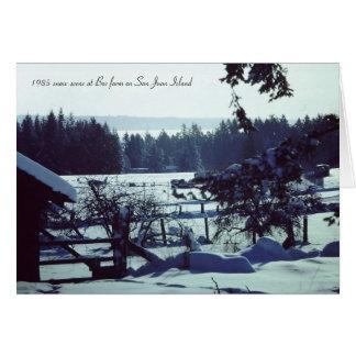 Escena hermosa de la nieve 1985 en la granja de Bo Tarjeta De Felicitación