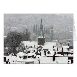 Escena hermosa de la nieve del navidad tarjetón
