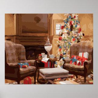 Escena hermosa de la sala de estar del árbol de na impresiones