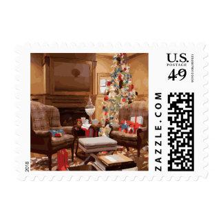 Escena hermosa de la sala de estar del árbol de sellos