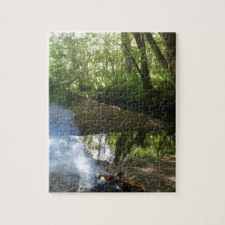 Escena hermosa del bosque con el fuego del campo rompecabezas