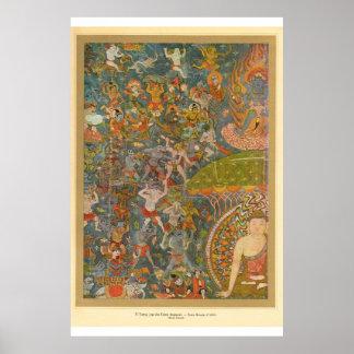 Escena hindú del arte asiático clásico póster