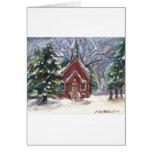 Escena hivernal del navidad de la iglesia del país tarjeta