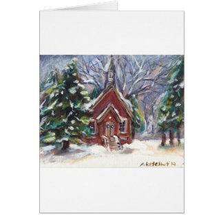 Escena hivernal del navidad de la iglesia del país tarjeta de felicitación