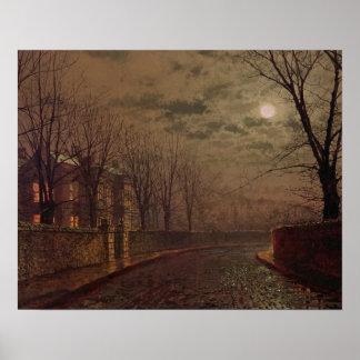 Escena iluminada por la luna de la calle, 1882 (ac póster