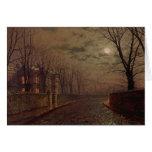 Escena iluminada por la luna de la calle, 1882 (ac tarjeta de felicitación