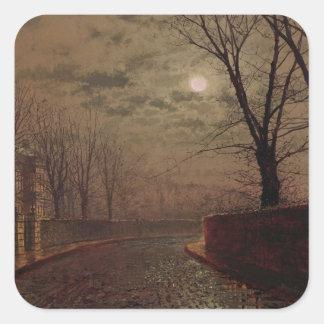 Escena iluminada por la luna de la calle, 1882 calcomanía cuadrada personalizada