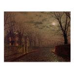 Escena iluminada por la luna de la calle, 1882 postales