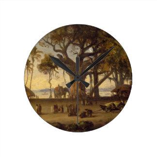 Escena iluminada por la luna del amon indio de las relojes de pared
