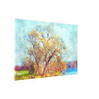Escena impresionista francesa del lago autumn del  impresión en lona