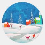 Escena ingenua popular de la nieve del invierno de pegatinas