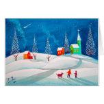 Escena ingenua popular de la nieve del invierno de tarjetas