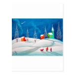 Escena ingenua popular de la nieve del invierno de tarjetas postales
