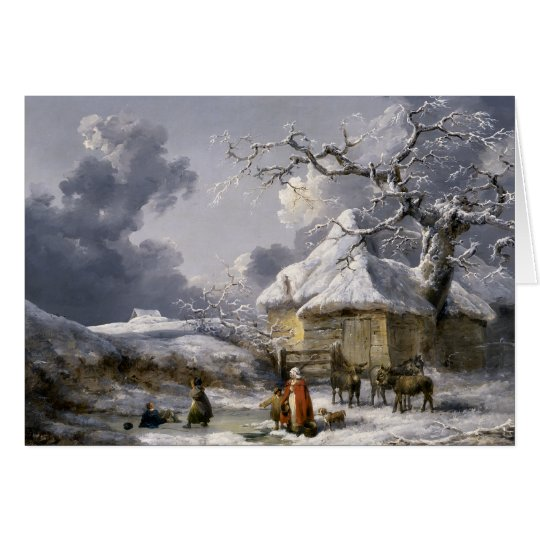 Escena inglesa del navidad del invierno del tarjeta de felicitación