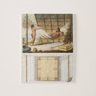 Escena interior que representa a los indios (graba puzzle con fotos